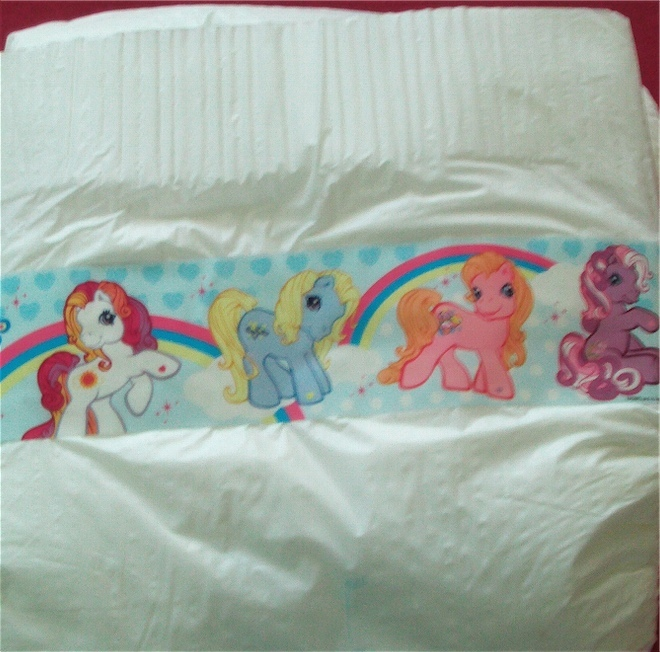 4 *NEW* adult baby disposable diapers featuring My Little Pony.